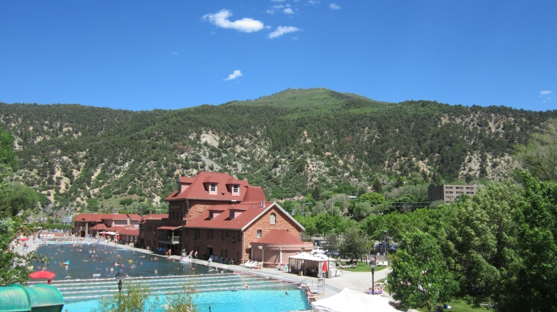 The radio towers on Lookout Mountain are visible from the Glenwood Hot Springs.